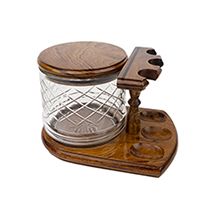 Solid Teak 3-Pipe Rack with Black Accent Stripe Plus Tobacco Jar