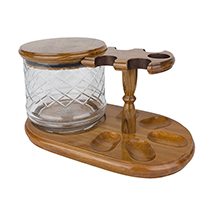 Solid Teak 5-Pipe Rack with Tobacco Jar
