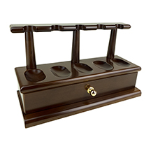Wood 5-Pipe Rack with Drawer in Walnut Finish