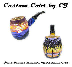 Check Out the Newest Hand-Painted Missouri Meerschaum Custom Cobs by CJ!